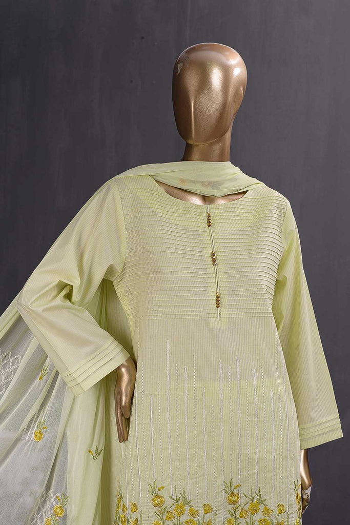 Breakline (SC-99C-Yellow) Embroidered Cambric Dress with Embroidered Chiffon Dupatta