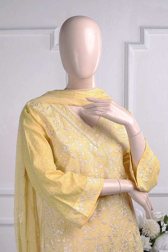 Butterfly (SC-18A-Yellow) Embroidered Un-Stitched Cambric Dress With Embroidered Chiffon Dupatta