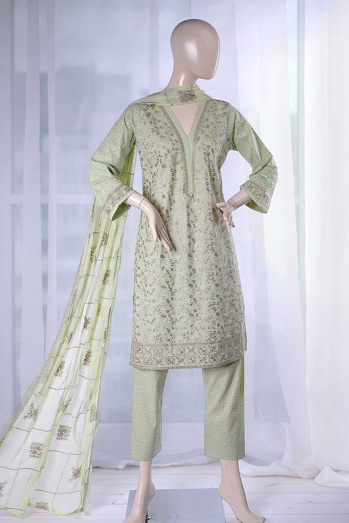 Butterfly (SC-18B-Green) Embroidered Un-Stitched Cambric Dress With Embroidered Chiffon Dupatta