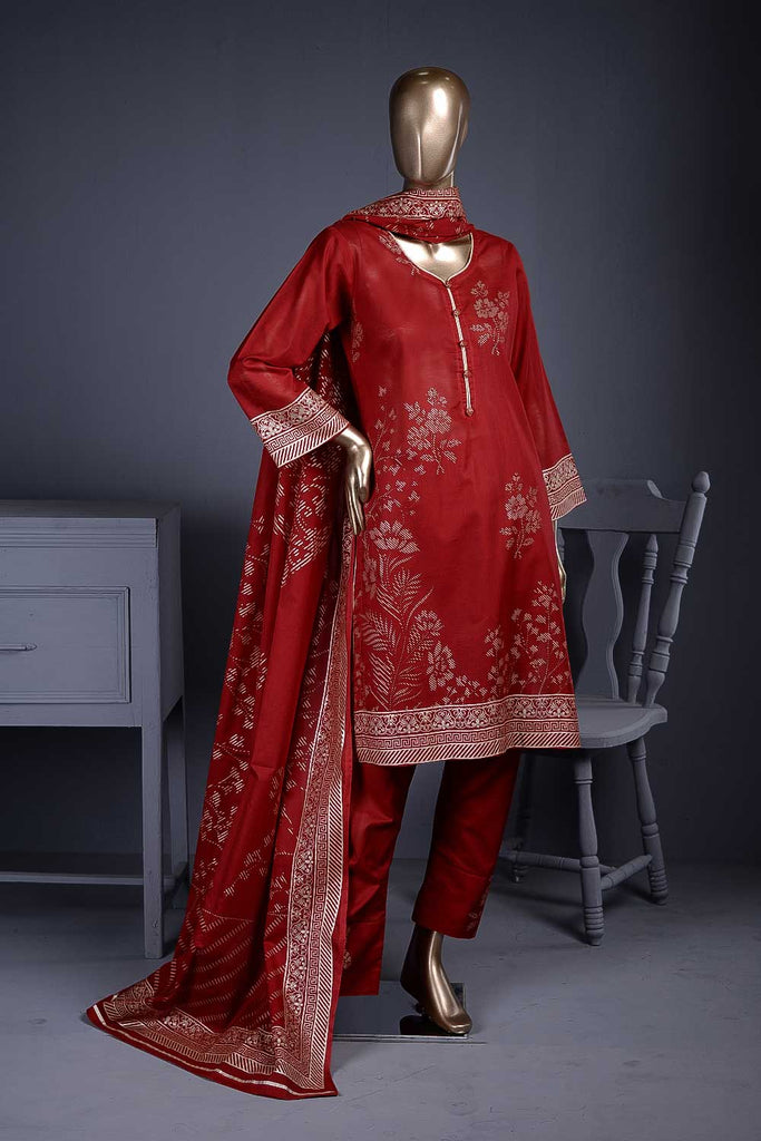 Pure Charisma (CC-1D) 3 Pc Red Un-stitched Printed Cambric Dress
