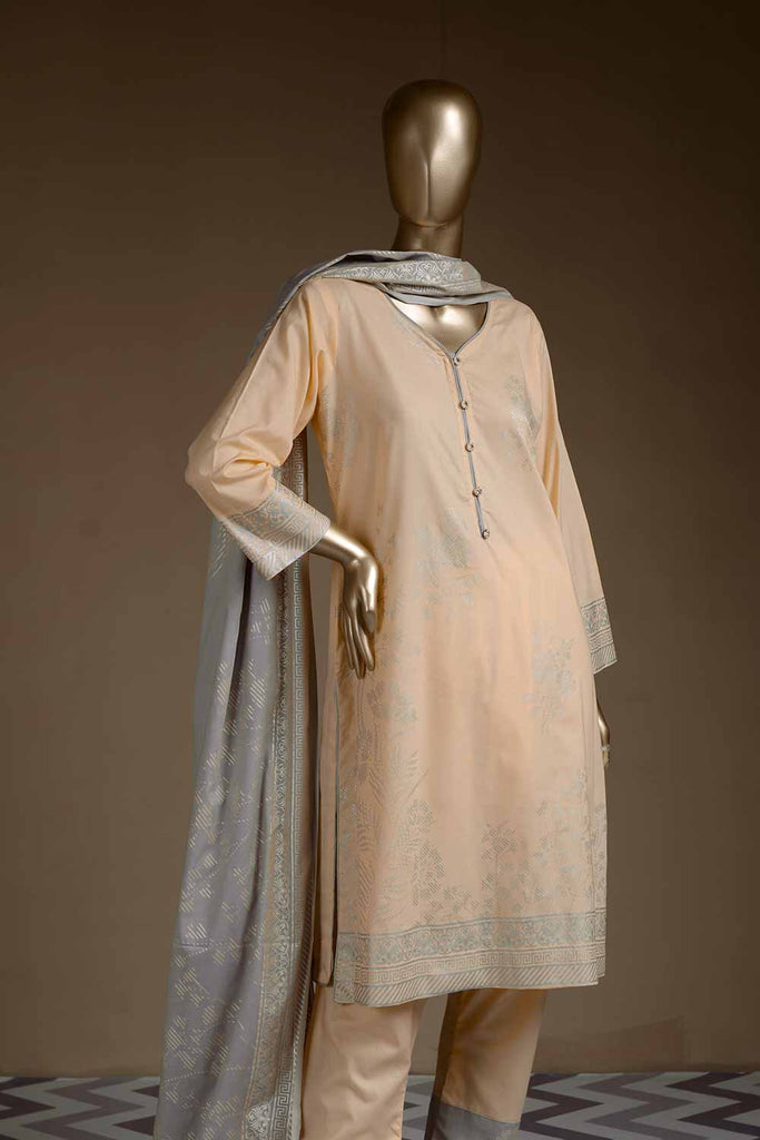 Pure Charisma (CC-1E) 3 Pc Peach Un-stitched Printed Cambric Dress with Grey Dupatta