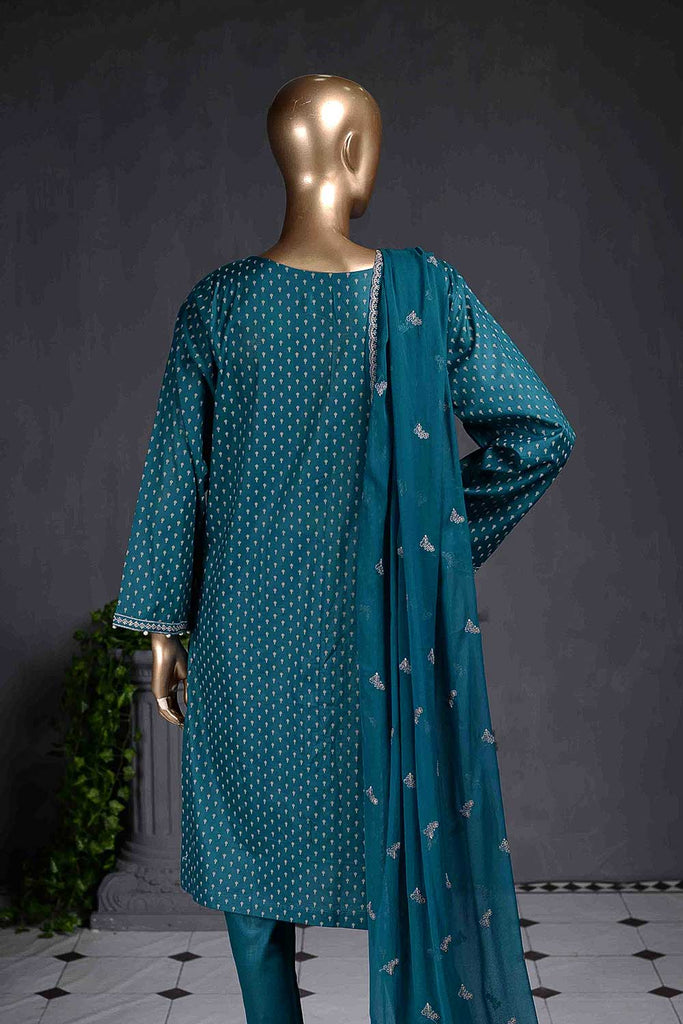 Chicken Stripe (SC-80C-Turquoise) Embroidered Un-Stitched Cambric Dress With Embroidered Chiffon Dupatta