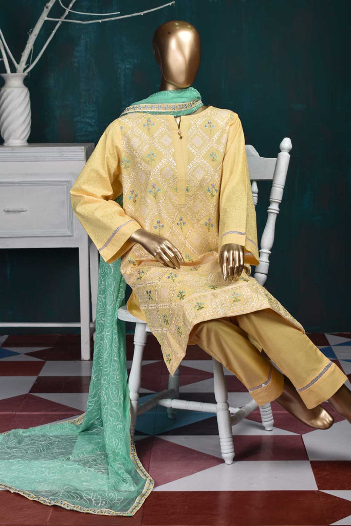 CHIKAN MARBLE (SC-22F-LIGHTYELLOW) Embroidered Un-Stitched Cambric Dress With Chiffon Dupatta