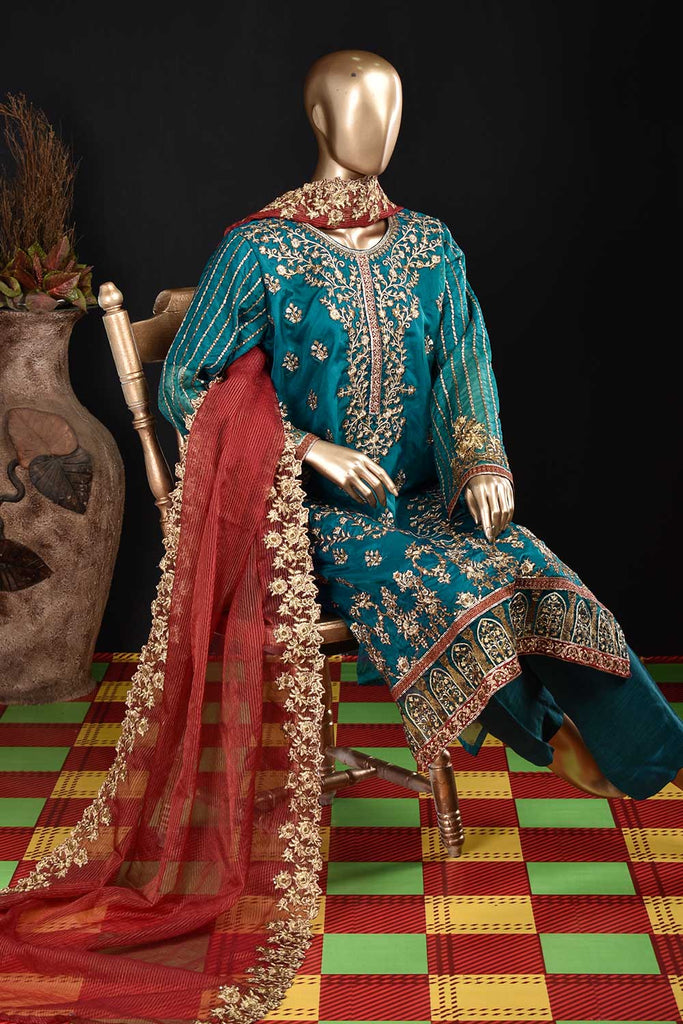 Cerulean Body (ZO-02-Blue) 3 Pc Unstitched Organza Embrodiered Dress with Mysoori Cutwork Embroidered Dupatta with embellished tassels and Raw Silk Trousers