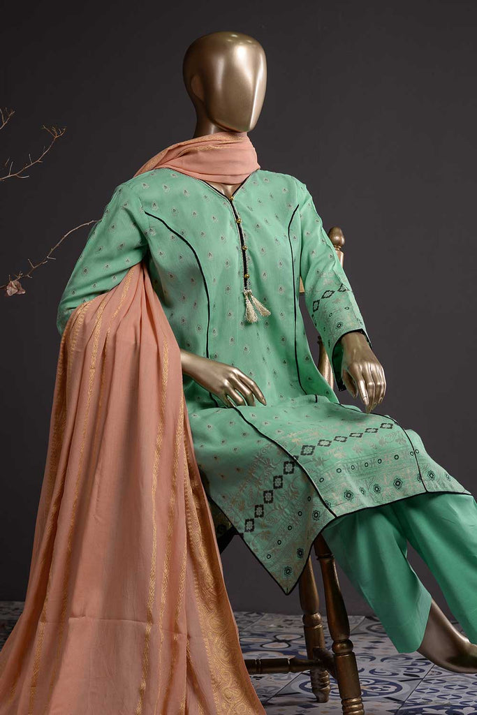 Day Dreams (DJ-02) - Multi-Jacquard Lawn Banarsi Dress