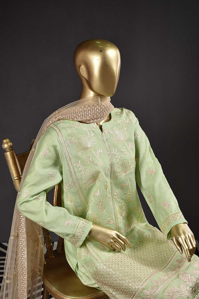 Daffodils (OE-01B-LightGreen) 3 Pc Unstitched Embroidered Organza Dress with Embroidered Net Dupatta