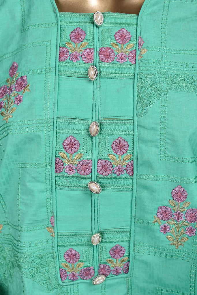 Dial chain (SC-46D-Greenish) Embroidered & Printed Un-Stitched Cambric Dress With Embroidered Chiffon Dupatta