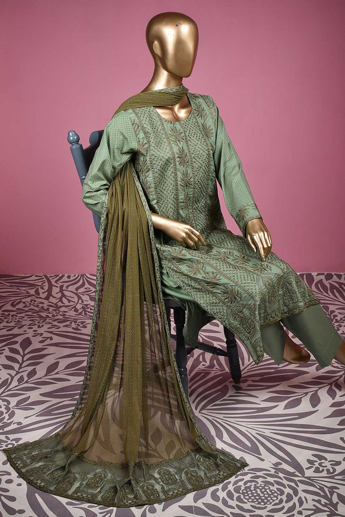 Dragon Beach (SC-140B-Green) Embroidered & Printed Un-Stitched Cotton Dress With Embroidered Chiffon Dupatta