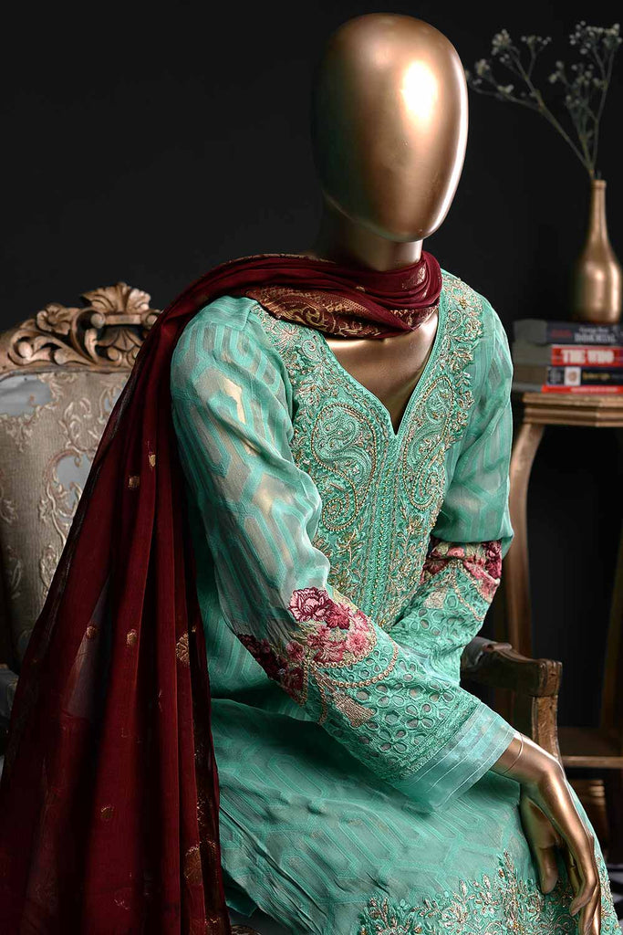 Serenity (EM-2B) | 3 Pc Mysoori Embroidered Dress with Handicraft Pearl work