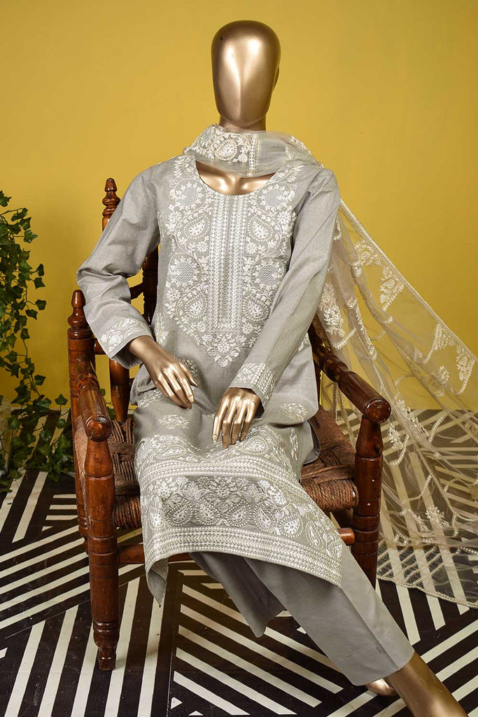 Egyptian Bridge (SC-127B-Grey) Embroidered & Printed Un-Stitched Cambric Dress With Embroidered Net Dupatta