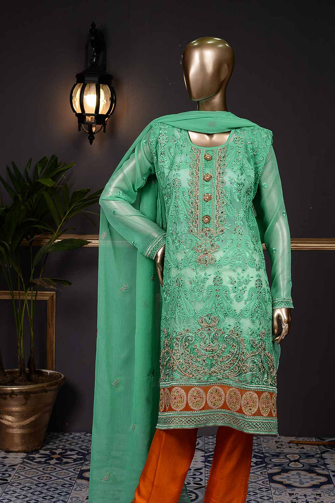Feast (F-160-SeaGreen) - Chiffon Semi-stitched Embroidered Dress