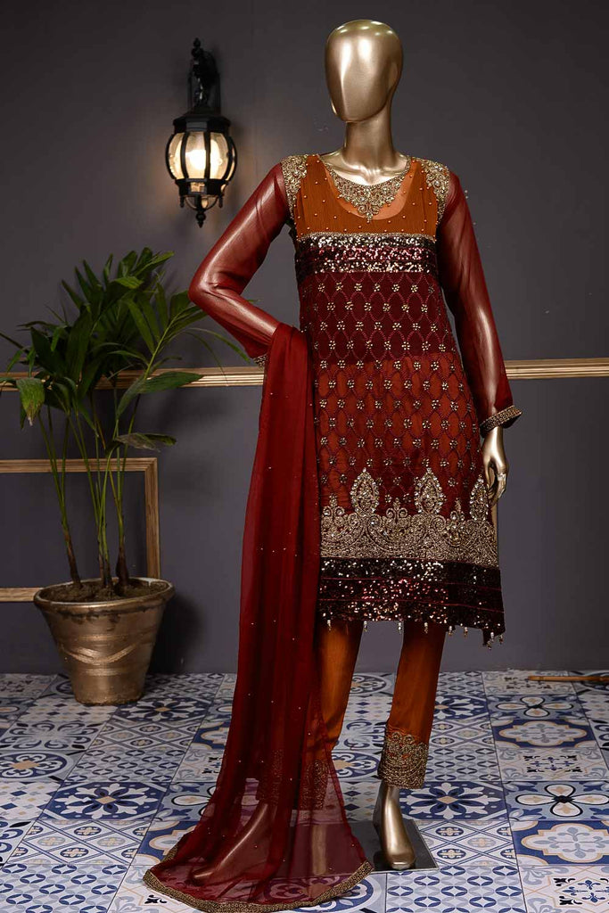 Sequins (F-205-R) - Chiffon Semi-stitched Embroidered Dress