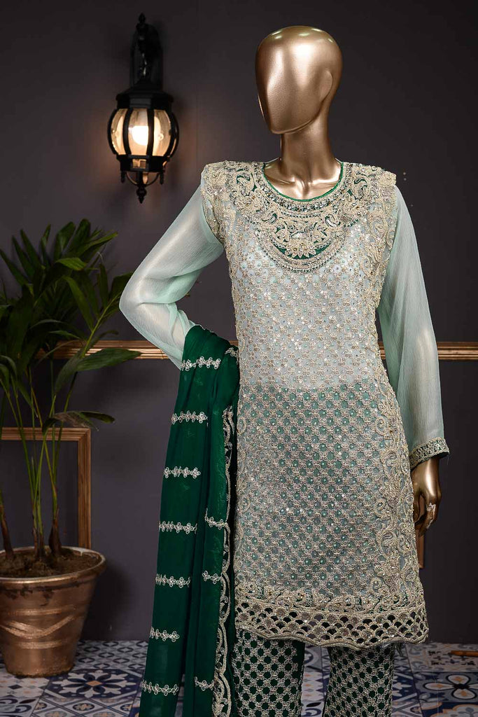 Regale (F-63-L-D-Green) - Chiffon Semi-stitched Embroidered Dress