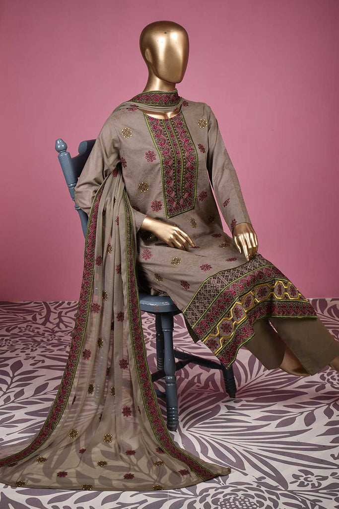 Fifty Shades (SC-141B-Grey) Embroidered & Printed Un-Stitched Cotton Dress With Embroidered Chiffon Dupatta