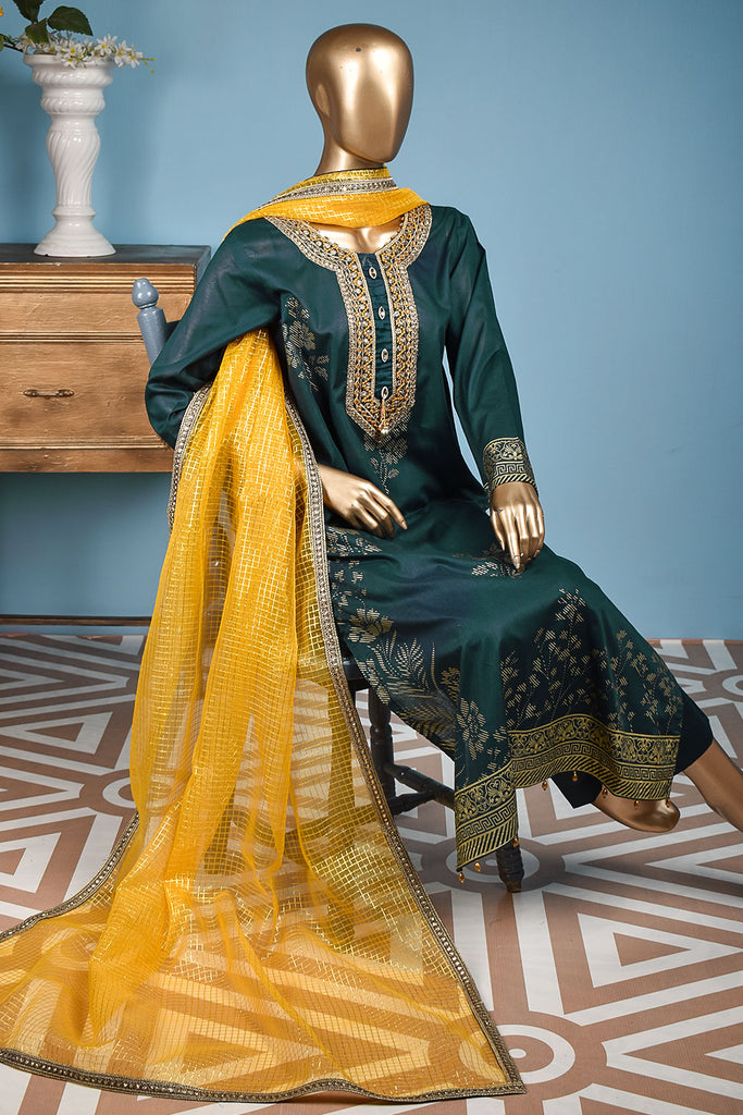 Freesia (FG-1B-Green) - 3 Pc Unstitched Lawn Gold Print Collection with Fancy Dupatta