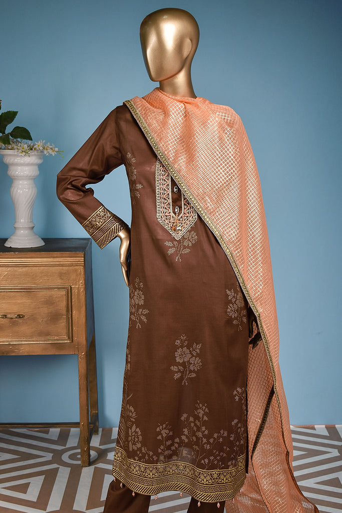 Freesia (FG-1C-Brown) - 3 Pc Unstitched Lawn Gold Print Collection with Fancy Dupatta