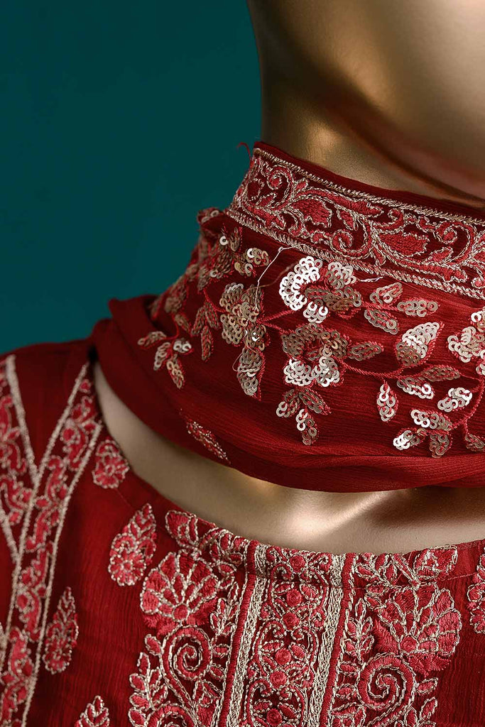 Spellbound (G6-2A) | Embroidered Red Chiffon Dress with Embroidered Chiffon Dupatta