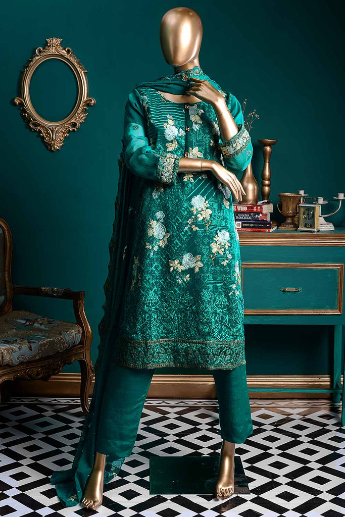 Dazzling Ashes (G6-4A) | Embroidered Sea-green Chiffon Dress with Embroidered Chiffon Dupatta