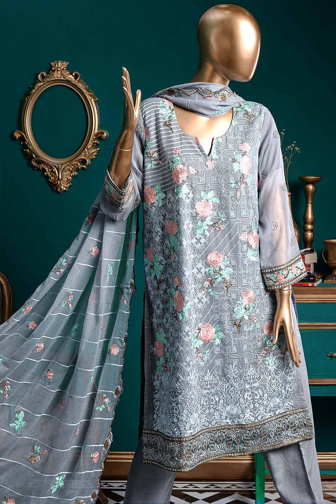 Dazzling Ashes (G6-4B) | Embroidered Bluish-grey Chiffon Dress with Embroidered Chiffon Dupatta