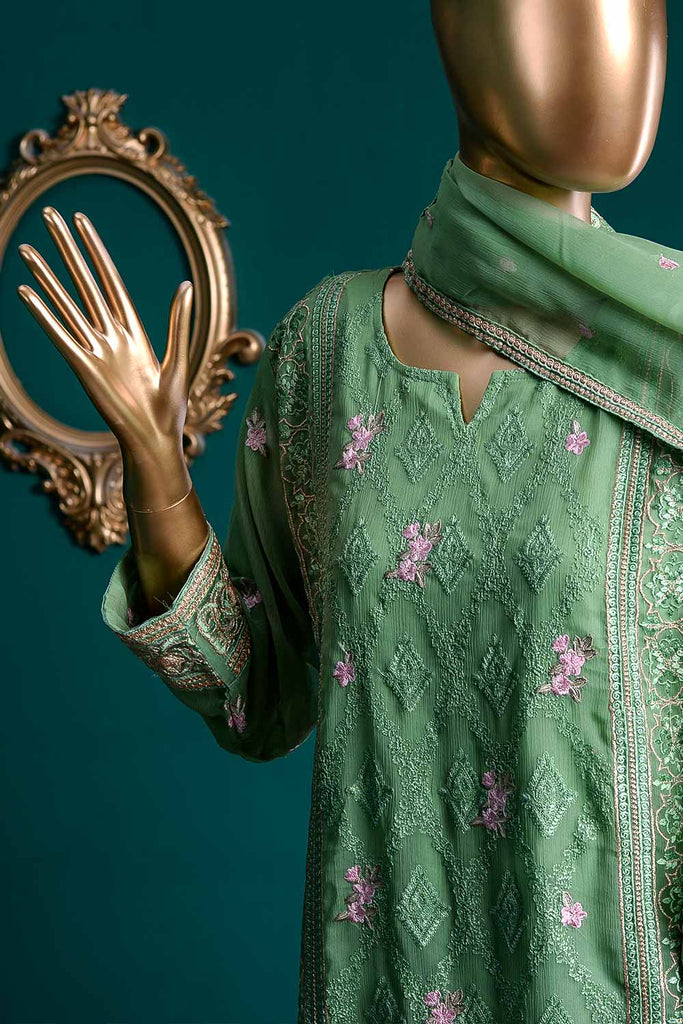 Appealing Serenity (G6-5B) | Embroidered Sea-green Chiffon Dress with Embroidered Chiffon Dupatta