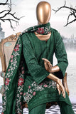 Flower Breeze (SW-1B-Green) | 3 Pc Unstitched Printed & Embroidered Linen Dress