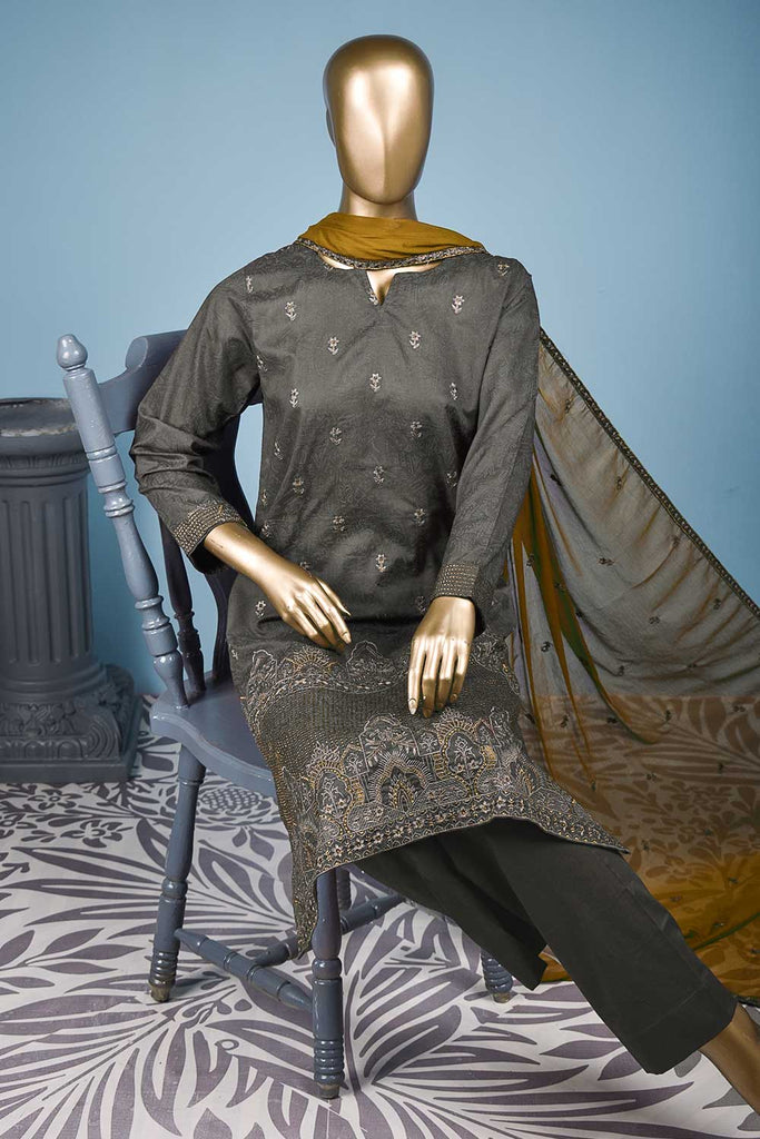 Gulmohar (SC-143B-Grey) Embroidered & Printed Un-Stitched Cotton Dress With Embroidered Chiffon Dupatta