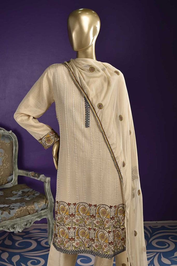 Heavens (RS-02A-Skin) Embroidered & Printed Un-Stitched Raw Silk Dress With Embroidered Chiffon Dupatta