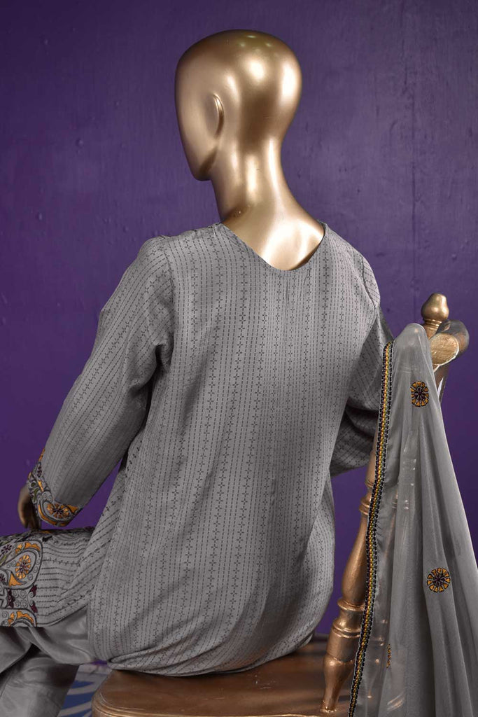 Heavens (RS-02B-Grey) Embroidered & Printed Un-Stitched Raw Silk Dress With Embroidered Chiffon Dupatta
