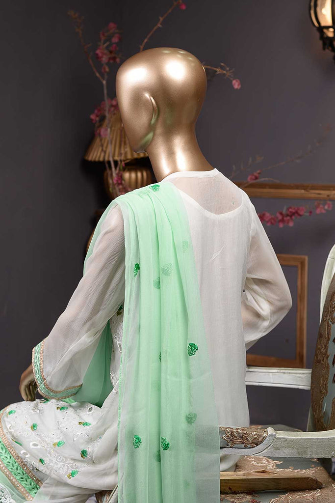 Hollow (F-77-OW-L-SeaGreen) - Chiffon Semi-stitched Embroidered Dress