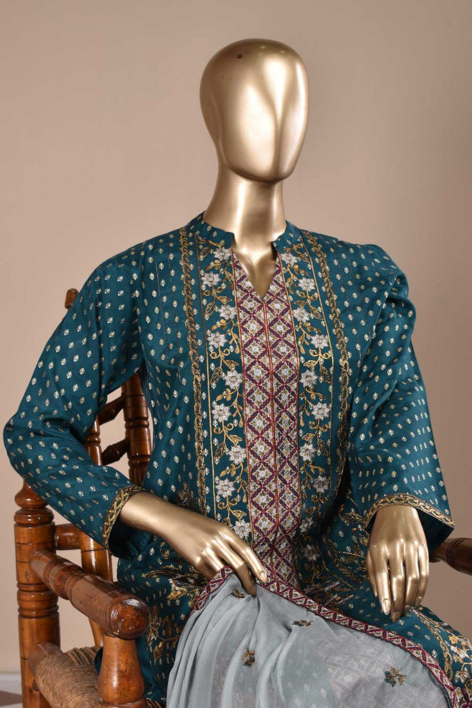 Honey Bee (RS-01B-Blue) Embroidered & Printed Un-Stitched Raw Silk Dress With Embroidered Chiffon Dupatta