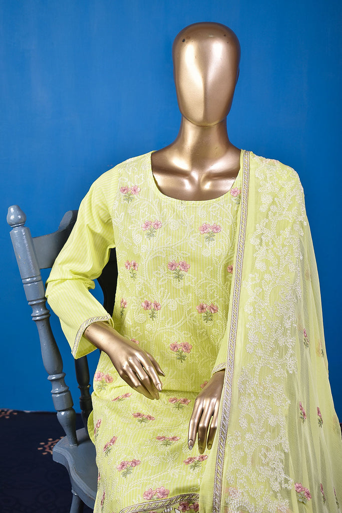 Ice Beauty (SC-26G-Lemon) Embroidered & Printed Un-Stitched Cotton Dress With Embroidered Chiffon Dupatta