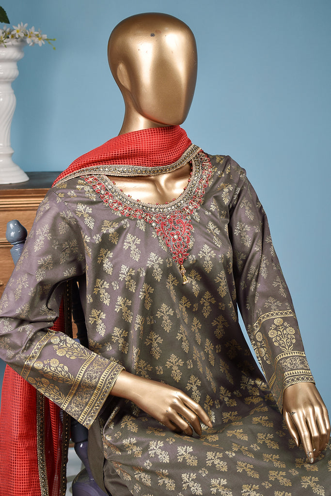 Ixora (FG-3B-LightBrown) - 3 Pc Unstitched Lawn Gold Print Collection with Fancy Dupatta