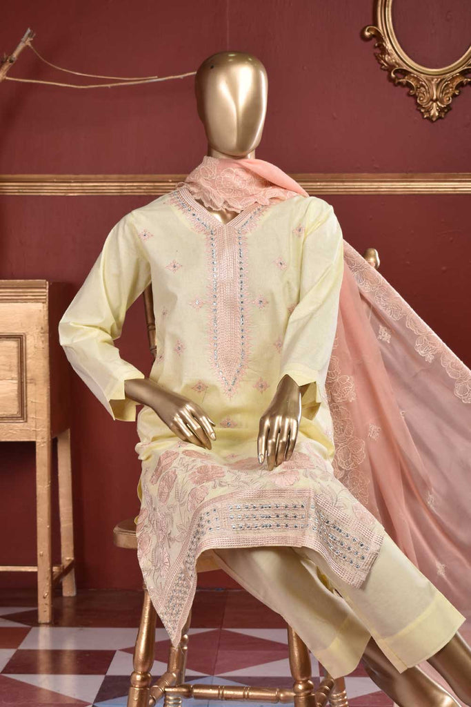 Japnees Fans (SC-107B-LightYellow) Embroidered & Printed Un-Stitched Cambric Dress With Embroidered Chiffon Dupatta