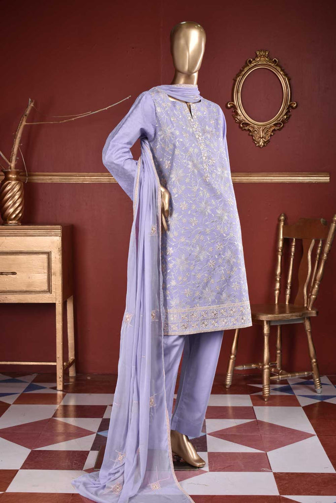 Jelly Fish (SC-109A-Purple) Embroidered & Printed Un-Stitched Cambric Dress With Embroidered Chiffon Dupatta