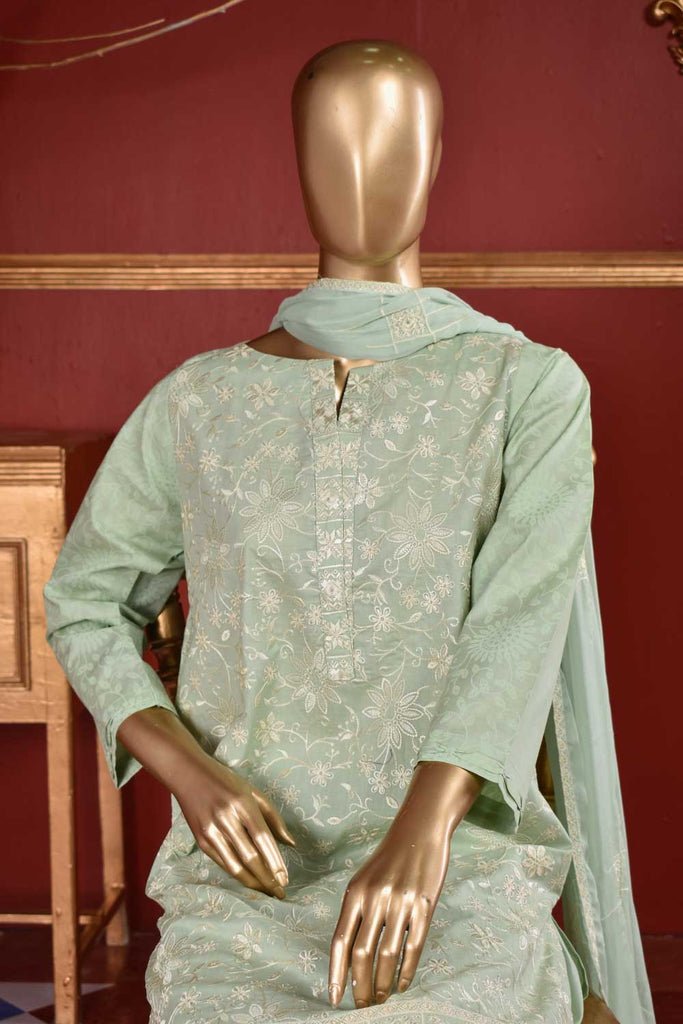 Jelly Fish (SC-109B-LightGreen) Embroidered & Printed Un-Stitched Cambric Dress With Embroidered Chiffon Dupatta