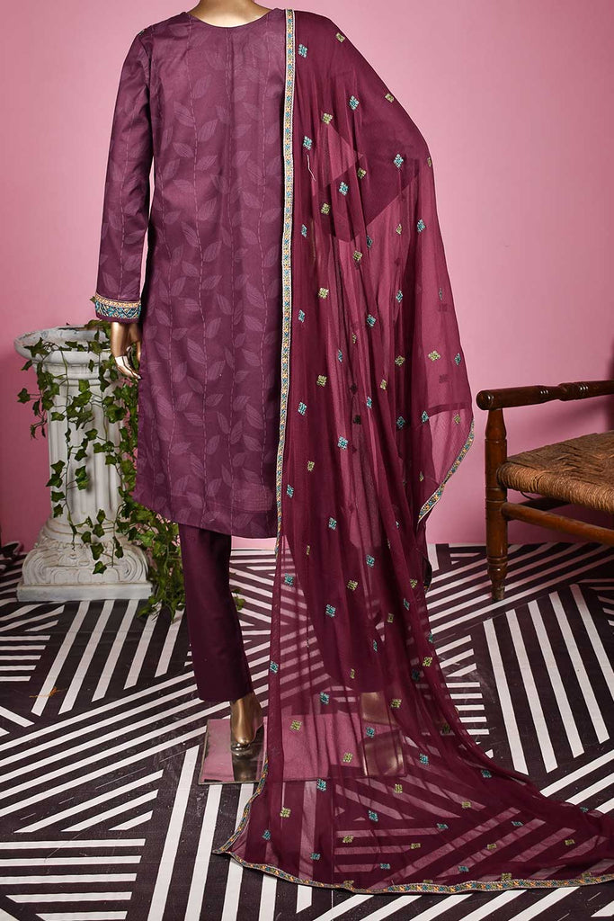 Jugnoo (SC-134A-Purple) Embroidered & Printed Un-Stitched Cambric Dress With Embroidered Chiffon Dupatta