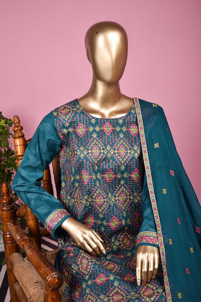 Jugnoo (SC-134B-Blue) Embroidered & Printed Un-Stitched Cambric Dress With Embroidered Chiffon Dupatta