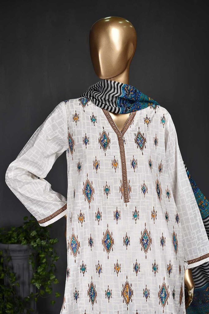 KARINA-(SC-105A-White) Embroidered Un-Stitched Cambric Dress With Printed Chiffon Dupatta