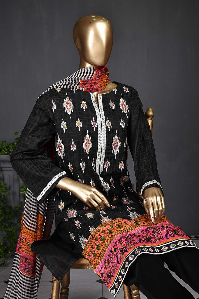 KARINA-(SC-105B-Black) Embroidered Un-Stitched Cambric Dress With Printed Chiffon Dupatta