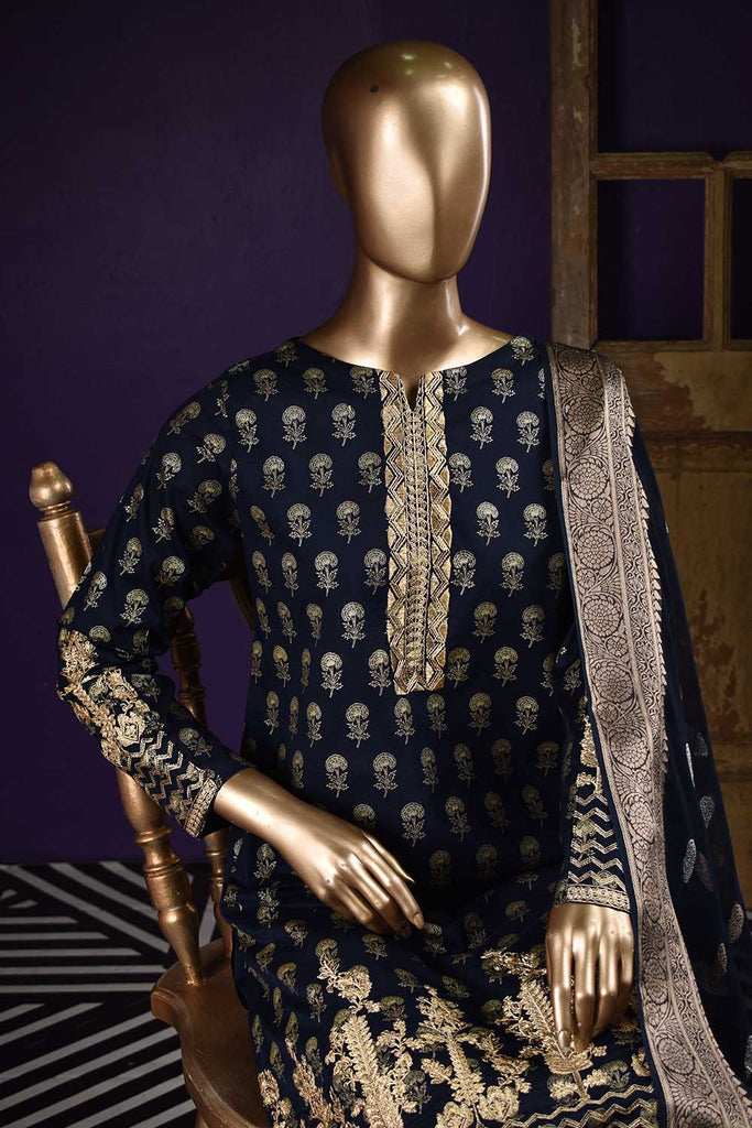 Kapasia (SC-123B-NavyBlue) Embroidered & Printed Un-Stitched Cambric Dress With Printed Chiffon Banarsi Dupatta