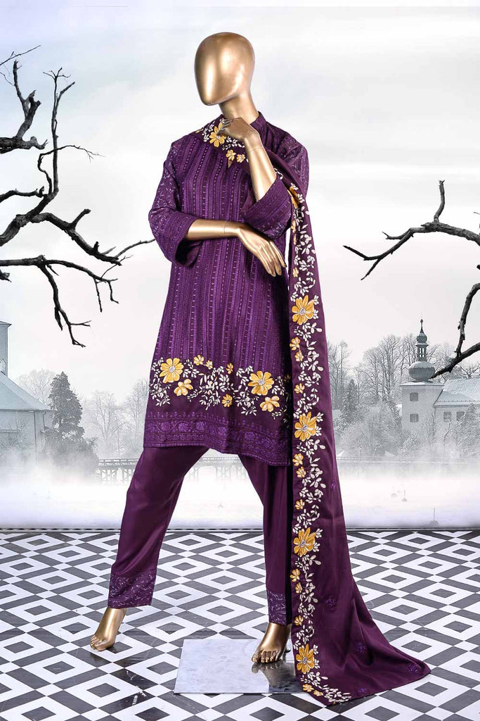 Flower Breeze (SW-1A-Purple) | 3 Pc Unstitched Printed & Embroidered Linen Dress