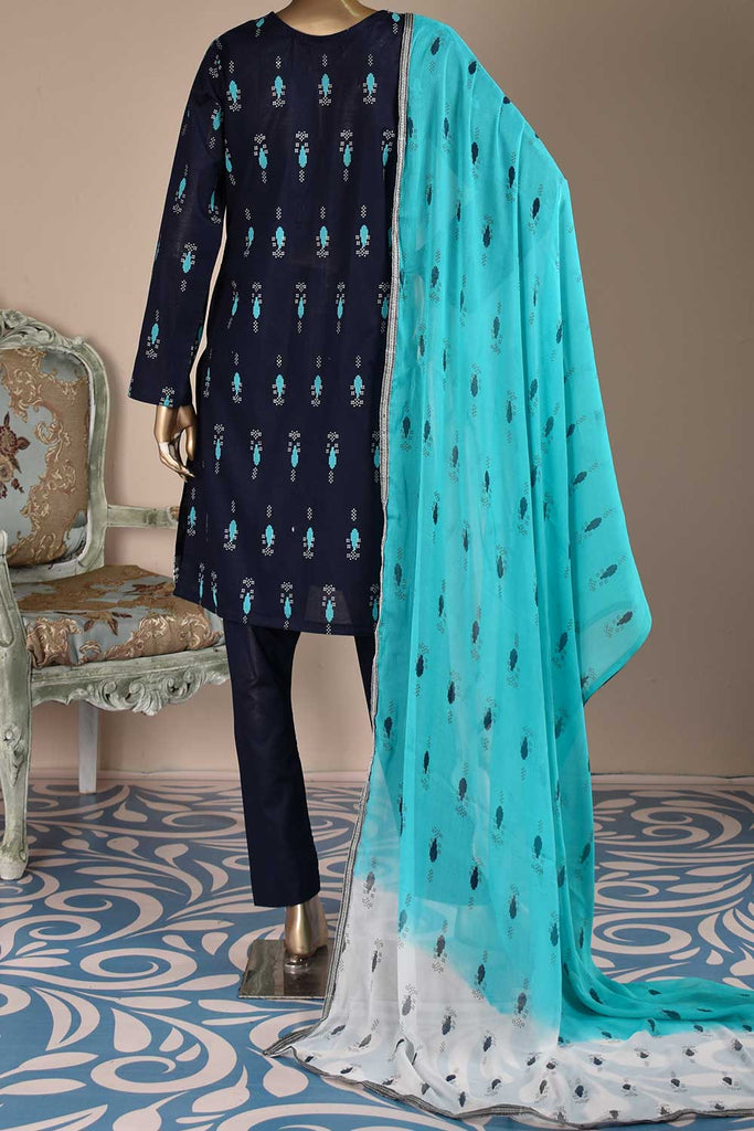 Magic Motif (SC-115A-NavyBlue) Embroidered & Printed Un-Stitched Cambric Dress With Embroidered Chiffon Dupatta