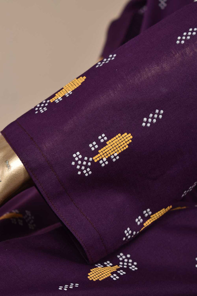 Magic Motif (SC-115B-Purple) Embroidered & Printed Un-Stitched Cambric Dress With Embroidered Chiffon Dupatta