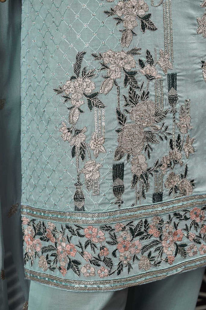 Majestic Wand (SC-124A-SkyBlue) Embroidered & Printed Un-Stitched Cambric Dress With Embroidered Chiffon Dupatta