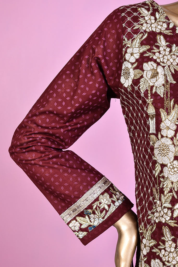 Majestic Wand (SC-124C-Maroon) Embroidered & Printed Un-Stitched Cotton Dress With Embroidered Chiffon Dupatta