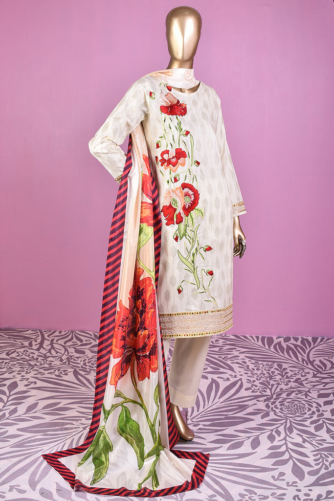 Missile Rosses (SC-160A-Cream) Embroidered & Printed Un-Stitched Cotton Dress With Silk Digital Printed Dupatta