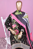 Missile Rosses (SC-160B-Black) Embroidered & Printed Un-Stitched Cotton Dress With Silk Digital Printed Dupatta