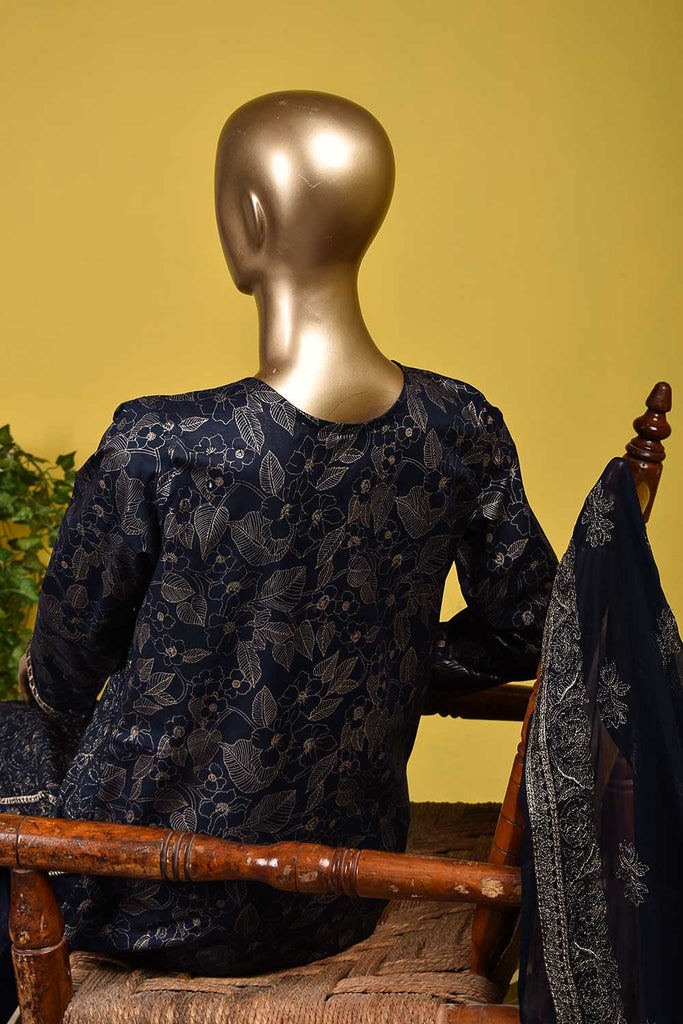 Monarch Gold (SC-129B-Blue) Embroidered & Printed Un-Stitched Cambric Dress With Embroidered Chiffon Dupatta