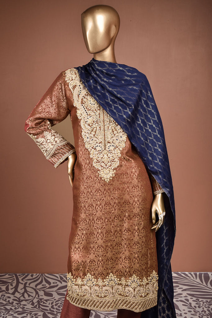 Moti Mahal (SC-158A-Rust) Embroidered & Printed Un-Stitched Banarsi Lawn Dress With Handwork With Printed Banarsi Lawn Dupatta