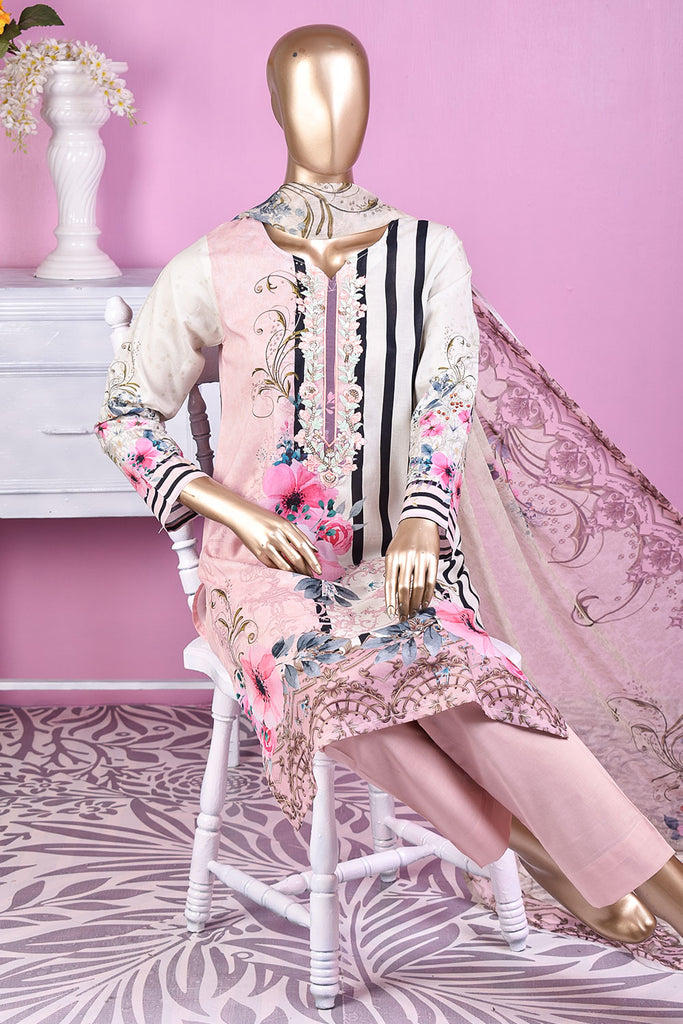 NE-06 - 3 Pc Unstitched Digital Embroidered Lawn Dress With Digital Bamber Chiffon Dupatta (Sequence 3D Work On Dupatta)